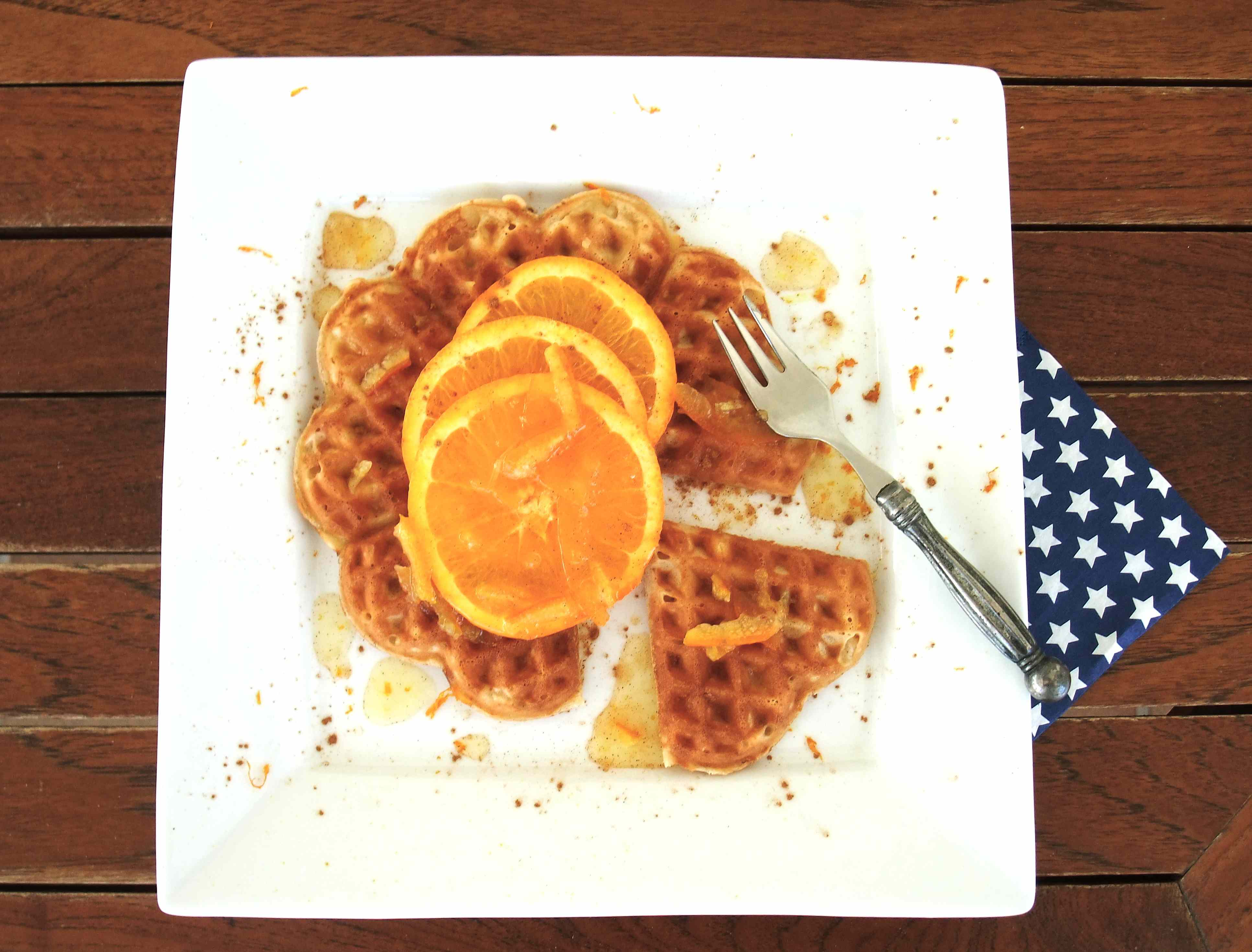 Norwegian sour cream and vanilla waffles with orange marmalade and ...